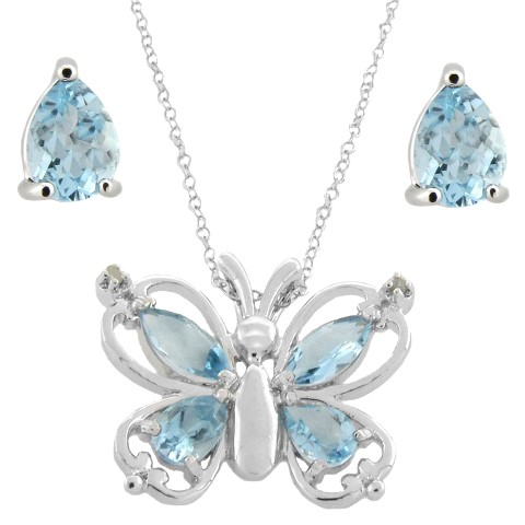 Sterling Silver Genuine Blue Topaz and Diamond Accent Butterfly Pendant and Earring Set