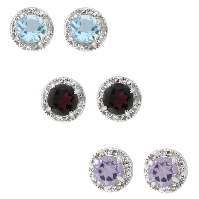 Sterling Silver Genuine Gemstone and Diamond Accent Stud Earrings Three Pair Set - Multicolor