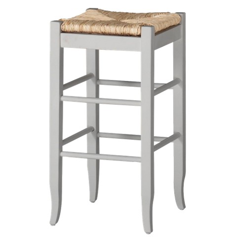Rush Seat Stool - White