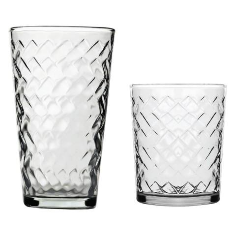 Riatta Glass Tumbler Set of 16 - Clear