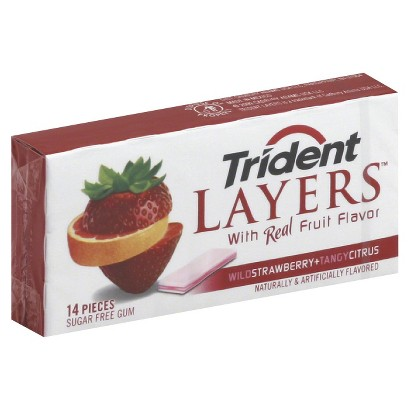 Trident Layers Wild Strawberry and Tangy Citrus Sugar-Free Gum 14 pc