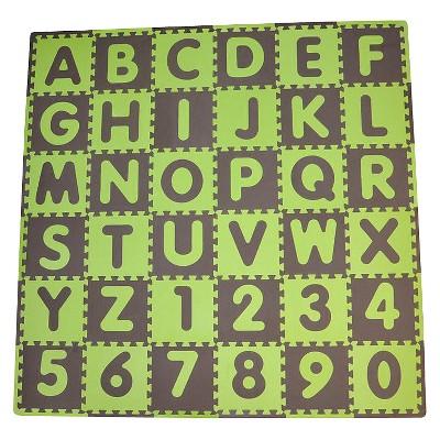 Tadpole Mat 36 Piece - ABC (Green/Brown)