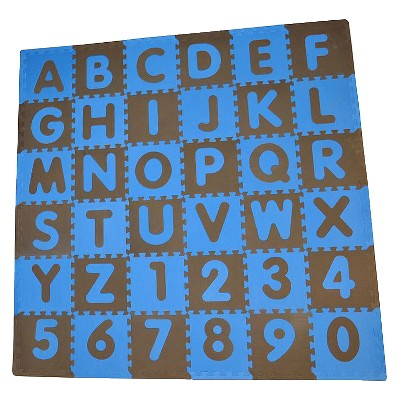 Tadpole Mat 36 Piece - ABC (Blue/Brown)