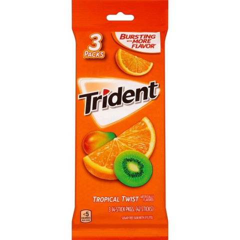 Trident® Sugar Free Gum with Xylitol - Tropical Twist 54 ct