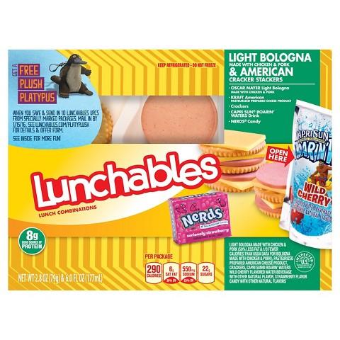 Oscar Mayer Lunchables Light Bologna & American Cheese Lunch Combo 2.8 oz Tray