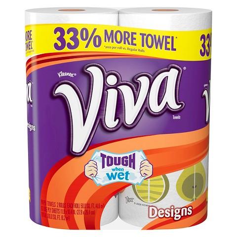 Viva Printed Paper Towels 2 Regular Rolls