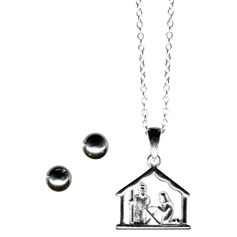 Sterling Silver Nativity Pendant & Ball Earring Set - Silver