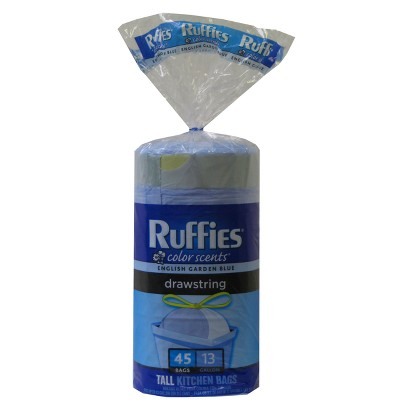 Ruffies Color Scents Tall Kitchen Bags with Drawstring English Garden Blue 13 gallon 45 ct