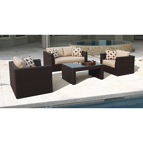 Atlantis 4-Piece Wicker Patio Conversation Furniture Set