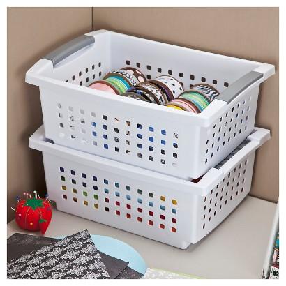 Sterilite® Medium Stacking Basket - Set of 6 - White