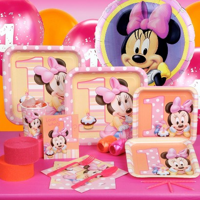 """Minnie's """"1st Birthday"""" Standard Party Kit for 16"""