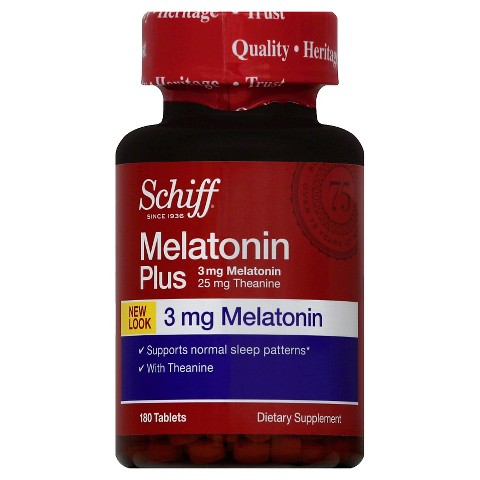 Schiff Melatonin Plus with Melatonin 3mg and Theanine 25mg Sleep Aid Supplement, 180 Count