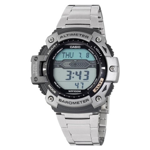 Casio Men's Altimeter Barometer and Thermometer Watch - Silver - SGW300HD-1AVCF