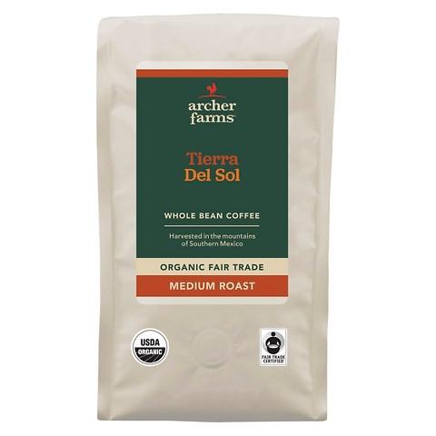 Archer Farms Organic Fair Trade Tierra Del Sol Medium Roast Whole Bean Coffee 12 oz