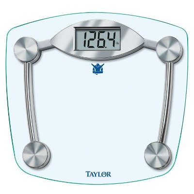 "Taylor Biggest Loser Digital Glass Scale - Silver (11.2 x 12.5"")"