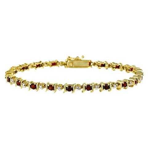 Diamond Accent Garnet Bracelet - Gold ( 7.25 )