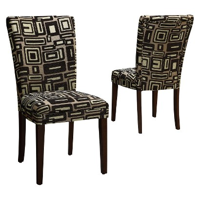 Dolce Print Chair - Black/Brown (Set of 2)