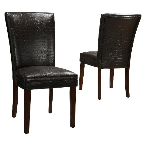 Dolce Faux Alligator Chair - Dark Brown (Set of 2)