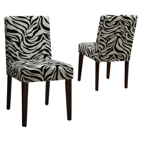 Dolce Zebra Print Chair - Black/White (Set of 2)