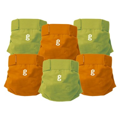 gDiapers Everyday g's Great Orange and Guppy Green - Medium (6 Count)