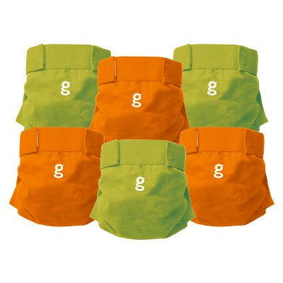 gDiapers Everyday g's Great Orange and Guppy Green - Large (6 Count)