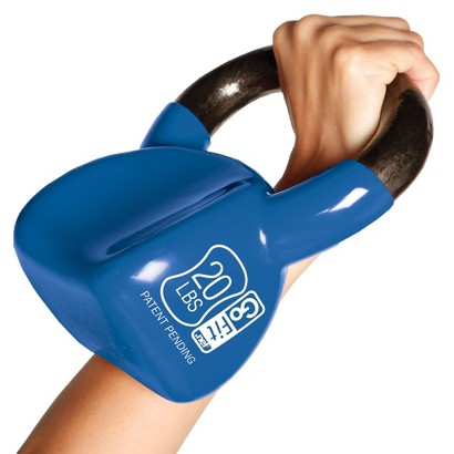 GoFit Contoured Kettlebell with Training DVD - Blue (20 lbs)