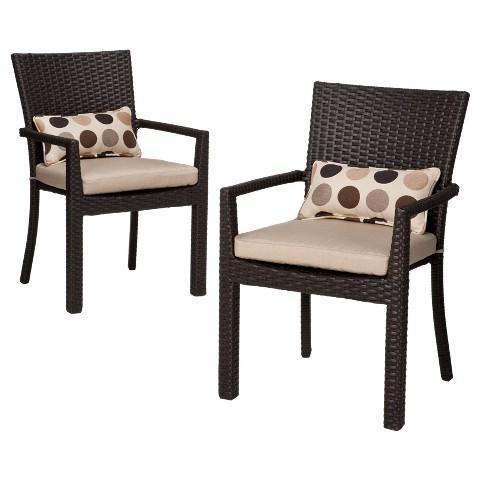 Atlantis 2 Piece Wicker Patio Dining Arm Chair Set