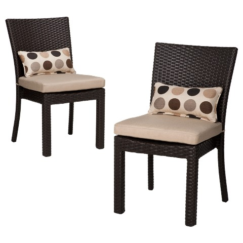 Atlantis 2-Piece Wicker Patio Armless Dining Chair Set
