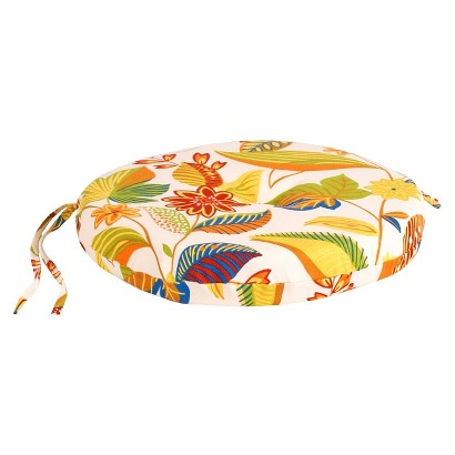 Outdoor Round Seat Pad/Dining/Bistro Cushion - White/Yellow Floral