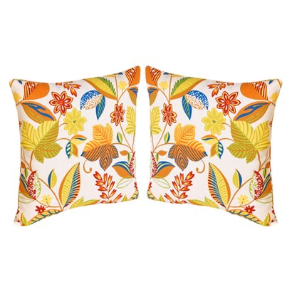 2-Piece Outdoor  Toss Pillow Set - White/Yellow Floral 16""
