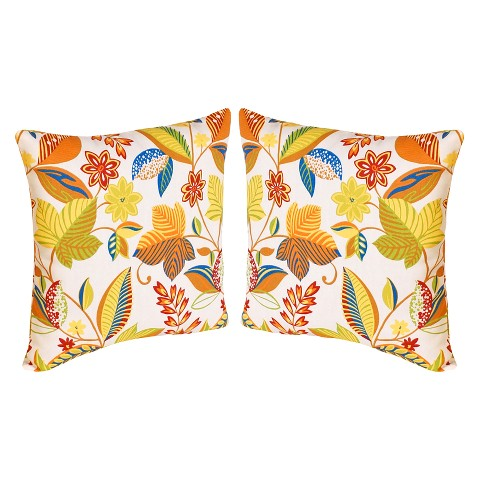 "2-Piece Outdoor  Toss Pillow Set - White/Yellow Floral 16"""