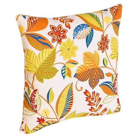 2-Piece Outdoor  Toss Pillow Set - White/Yellow Floral 14""