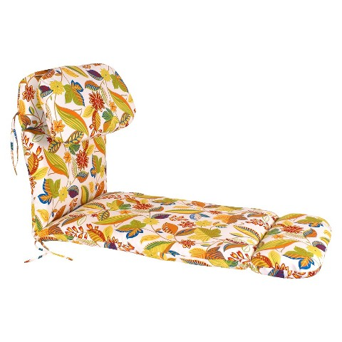 Outdoor Euro Style Chaise Lounge Cushion - White/Yellow Floral