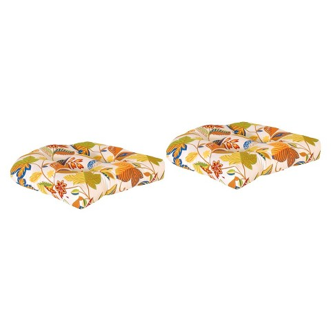 2-Piece Outdoor Wicker Conversation/Deep Seating Cushion Set - White/Yellow Floral