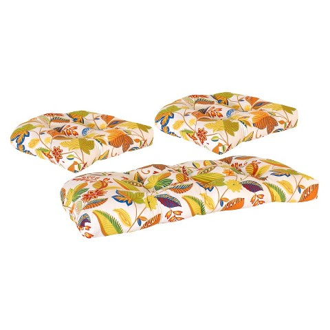 3-Piece Outdoor Wicker Conversation/Deep Seating Cushion Set - White/Yellow Floral
