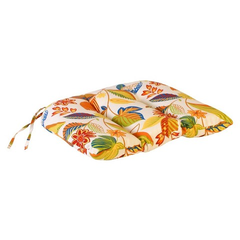 Outdoor Euro Style Conversation/Deep Seating Cushion - White/Yellow Floral