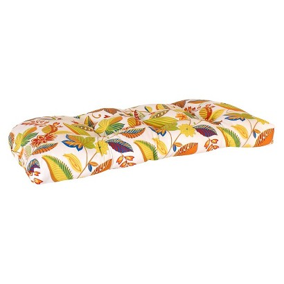 Outdoor Wicker Bench/Loveseat/Swing Cushion - White/Yellow Floral