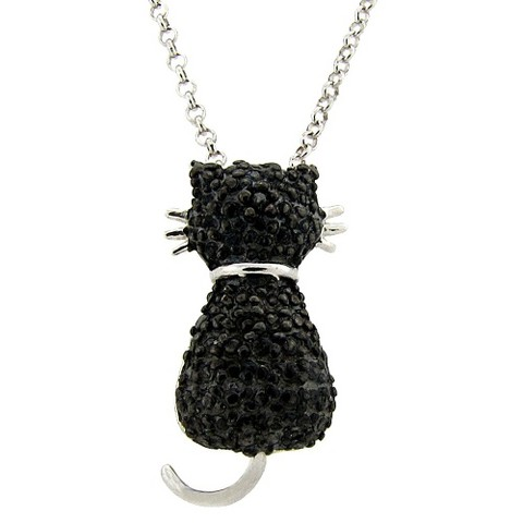 Sterling Silver Black Diamond Accent Cat Pendant