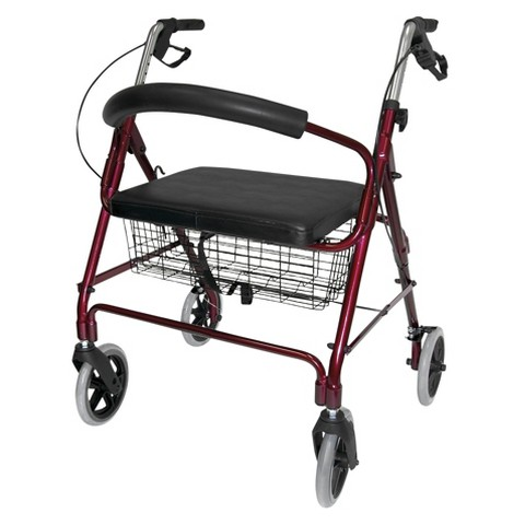 Mabis Healthcare Extra Wide Rollator - Burgundy