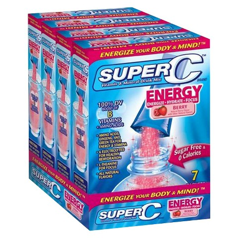 Super C Vitamin & Mineral Drink Mix Energy - 28 Count (4 Pack)