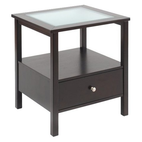 Glass Top End Table with Drawer - Espresso