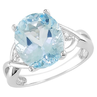 5-1/2 carat Blue Topaz and Diamond Accent Ring in Sterling Silver