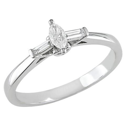 1/4 carat Diamond Engagement Ring in 10k White Gold GHI I1;I2