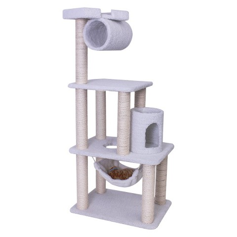 "Majestic Pet Products Casita Faux Sheepskin Cat Tree - White (62"")"
