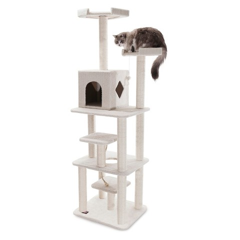 "Majestic Pet Products Bungalow Faux Sheepskin Cat Tree - White (78"")"