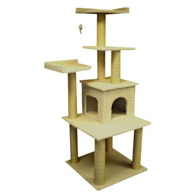 "Majestic Pet Products Bungalow Faux Sheepskin Cat Tree - White (64"")"