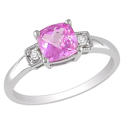 1-1/4 Carat Created Pink Sapphire and Diamond Accent Fashion Ring in Sterling Silver
