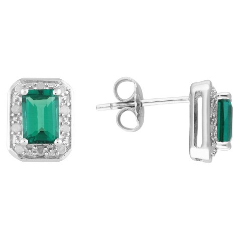 4/5 Carat Created Emerald and 1/10 Carat Diamond Earrings in Sterling Silver, HIJ