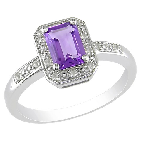 7/8 carat Amethyst and Diamond Accent Ring in Sterling Silver, HIJ
