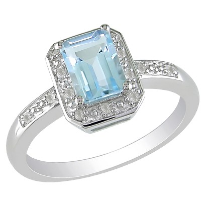 1-1/5 carat Sky Blue Topaz and Diamond Accent Ring in Sterling Silver, HIJ